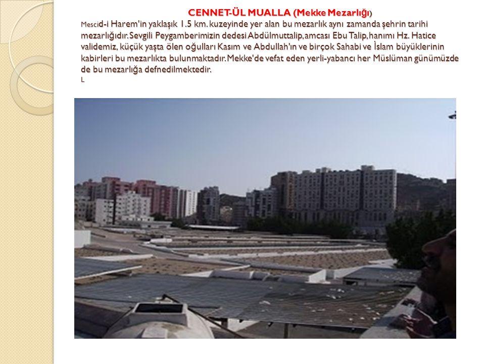 CENNET-ÜL MUALLA (Mekke Mezarlı ğ ı ) Mesci d-i Harem'in yaklaşık 1.5 km. kuzeyinde yer alan bu mezarlık aynı zamanda şehrin tarihi mezarlı ğ ıdır. Se