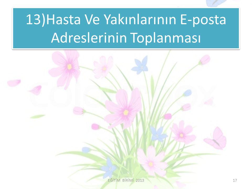 13)Hasta Ve Yakınlarının E-posta Adreslerinin Toplanması 17EĞİTİM BİRİMİ 2013