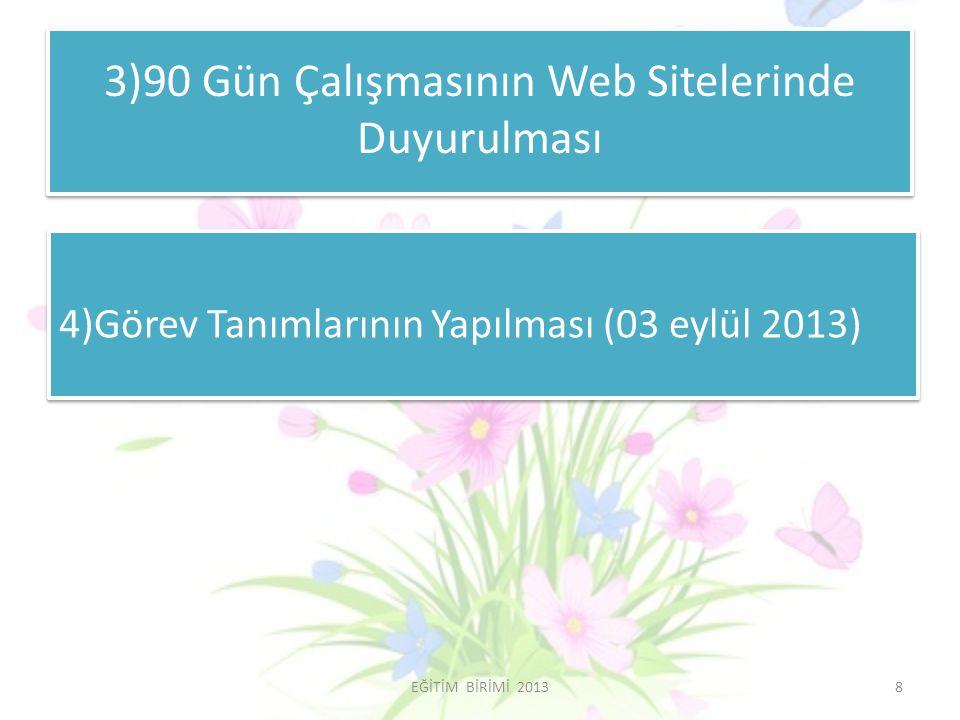 3)90 Gün Çalışmasının Web Sitelerinde Duyurulması 4)Görev Tanımlarının Yapılması (03 eylül 2013) 8EĞİTİM BİRİMİ 2013