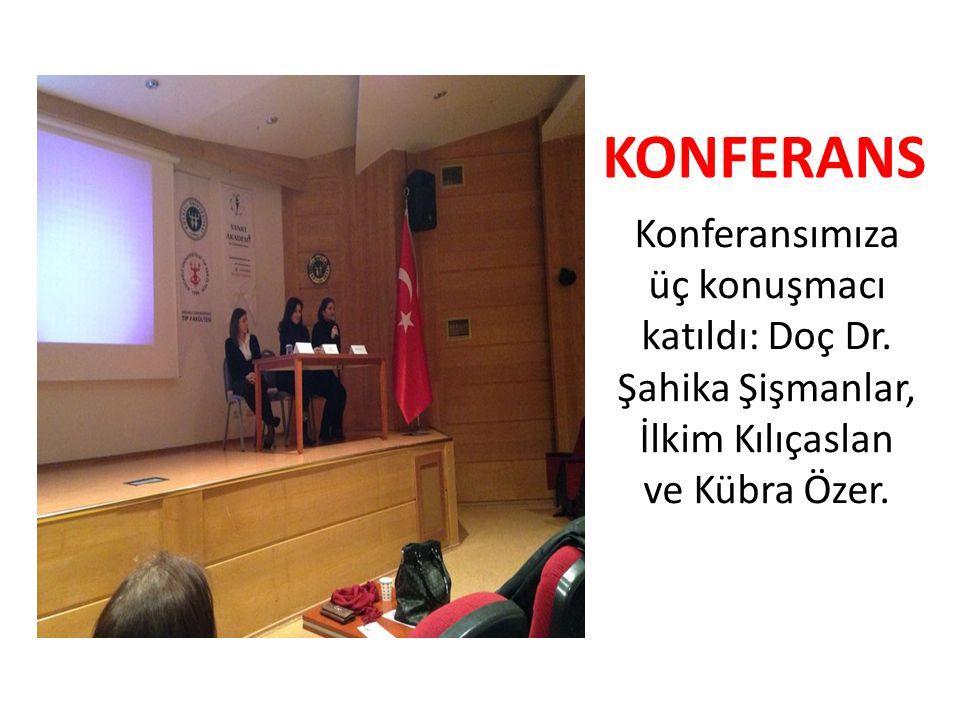 Konferansımıza üç konuşmacı katıldı: Doç Dr. Şahika Şişmanlar, İlkim Kılıçaslan ve Kübra Özer. KONFERANS
