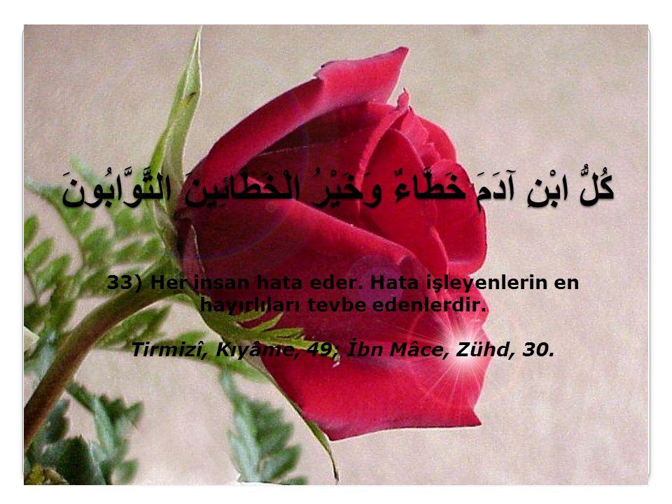 كُلُّ ابْنِ آدَمَ خَطَّاءٌ وَخَيْرُ الْخَطَّائِينَ التَّوَّابُونَ 33) Her insan hata eder.