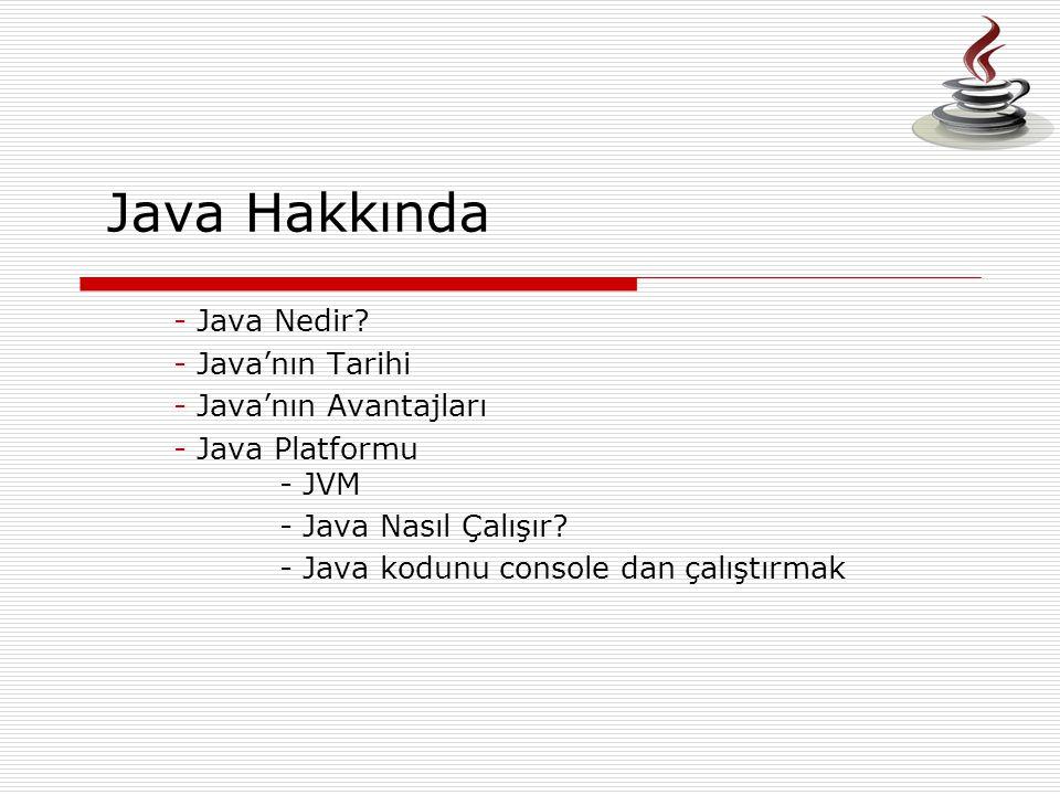 Java Hakkında - Java Nedir? - Java'nın Tarihi - Java'nın Avantajları - Java Platformu - JVM - Java Nasıl Çalışır? - Java kodunu console dan çalıştırma