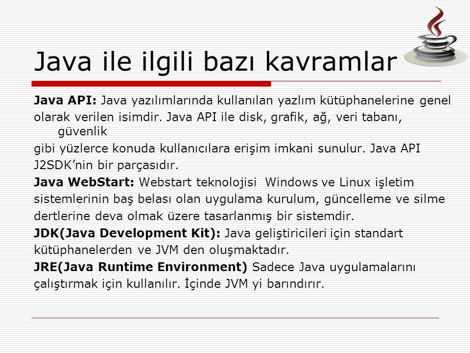 Java API: Java yazılımlarında kullanılan yazlım kütüphanelerine genel olarak verilen isimdir. Java API ile disk, grafik, ağ, veri tabanı, güvenlik gib