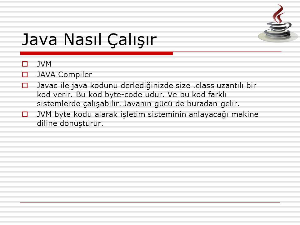 Java Nasıl Çalışır  JVM  JAVA Compiler  Javac ile java kodunu derlediğinizde size.class uzantılı bir kod verir. Bu kod byte-code udur. Ve bu kod fa