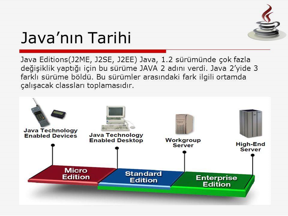 Java'nın Tarihi Java Editions(J2ME, J2SE, J2EE) Java, 1.2 sürümünde çok fazla değişiklik yaptığı için bu sürüme JAVA 2 adını verdi. Java 2'yide 3 fark