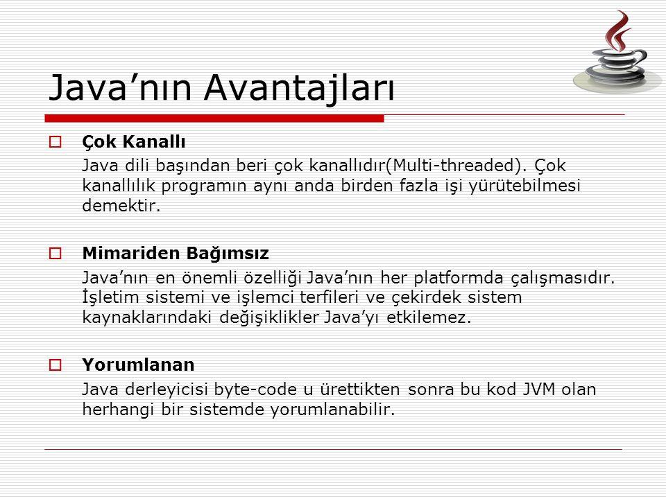 Java'nın Avantajları  Çok Kanallı Java dili başından beri çok kanallıdır(Multi-threaded). Çok kanallılık programın aynı anda birden fazla işi yürüteb