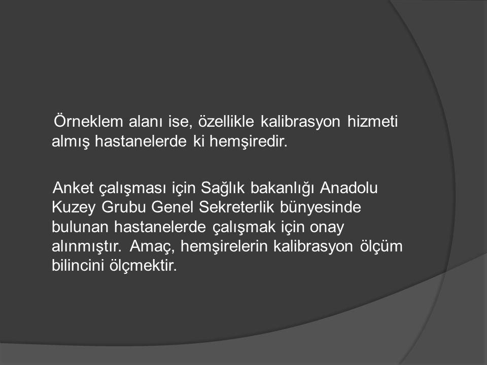 Örneklem alanı ise, özellikle kalibrasyon hizmeti almış hastanelerde ki hemşiredir. Anket çalışması için Sağlık bakanlığı Anadolu Kuzey Grubu Genel Se
