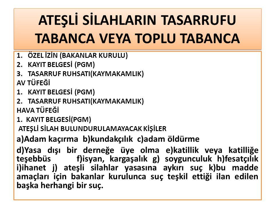 ATEŞLİ SİLAHLARIN TASARRUFU TABANCA VEYA TOPLU TABANCA 1.
