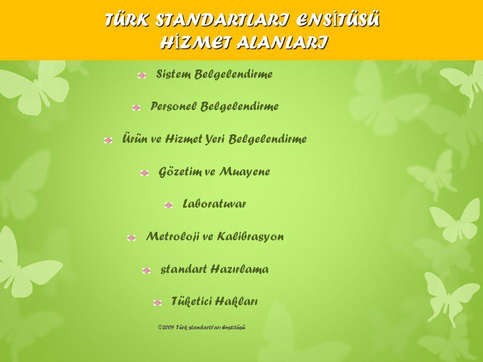 ©2009 Türk standartları Enstitüsü TÜRK STANDARTLARI ENS İ TÜSÜ H İ ZMET ALANLARI Sistem Belgelendirme Personel Belgelendirme Ürün ve Hizmet Yeri Belge