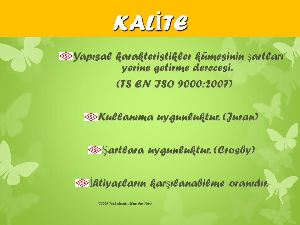 ©2009 Türk standartları Enstitüsü Yapısal karakteristikler kümesinin ş artları yerine getirme derecesi. (TS EN ISO 9000:2007) (TS EN ISO 9000:2007) Ku