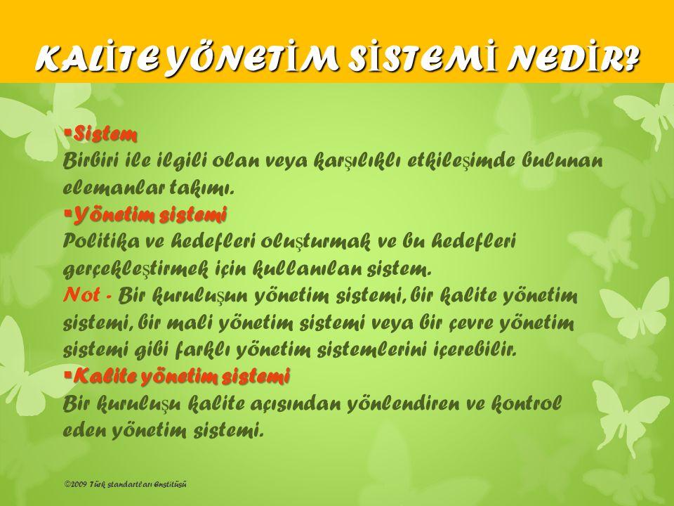©2009 Türk standartları Enstitüsü  Sistem Birbiri ile ilgili olan veya kar ş ılıklı etkile ş imde bulunan elemanlar takımı.  Yönetim sistemi Politik