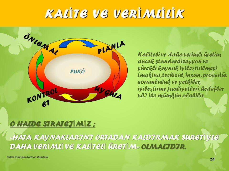 ©2009 Türk standartları Enstitüsü KAL İ TE VE VER İ ML İ L İ K Kaliteli ve daha verimli üretim ancak standardizasyon ve sürekli kaynak iyile ş tirilme
