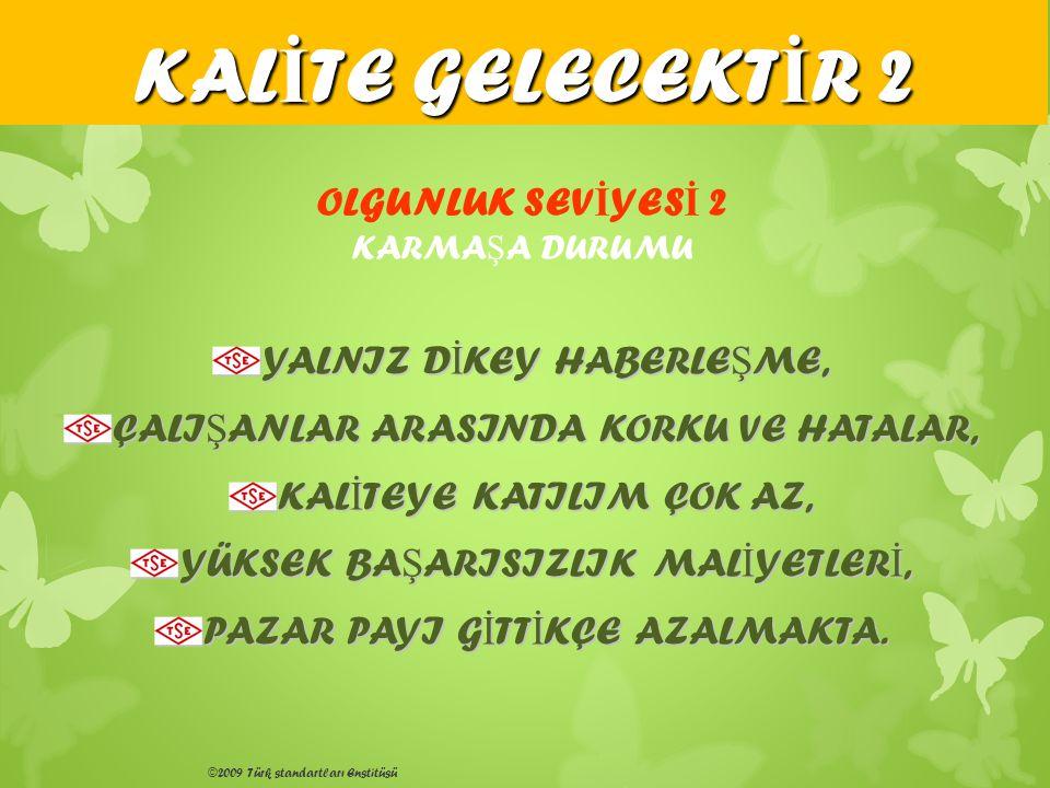 ©2009 Türk standartları Enstitüsü YALNIZ D İ KEY HABERLE Ş ME, ÇALI Ş ANLAR ARASINDA KORKU VE HATALAR, KAL İ TEYE KATILIM ÇOK AZ, YÜKSEK BA Ş ARISIZLI