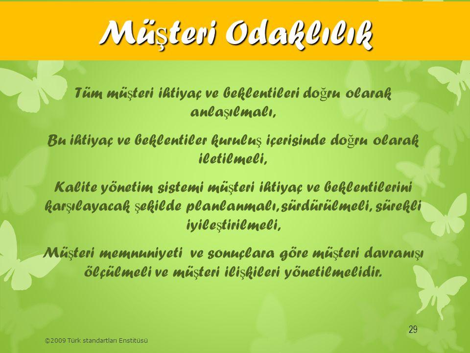 ©2009 Türk standartları Enstitüsü Mü ş teri Odaklılık 29 Tüm mü ş teri ihtiyaç ve beklentileri do ğ ru olarak anla ş ılmalı, Bu ihtiyaç ve beklentiler
