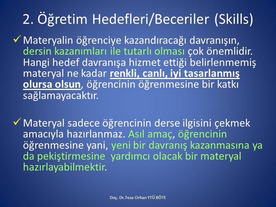 2. Öğretim Hedefleri/Beceriler (Skills)  Materyalin öğrenciye kazandıracağı davranışın, dersin kazanımları ile tutarlı olması çok önemlidir. Hangi he