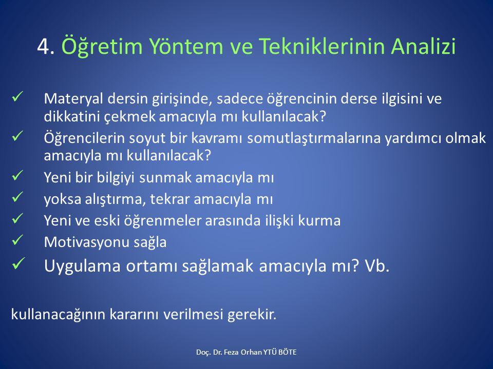 4. Öğretim Yöntem ve Tekniklerinin Analizi  Materyal dersin girişinde, sadece öğrencinin derse ilgisini ve dikkatini çekmek amacıyla mı kullanılacak?