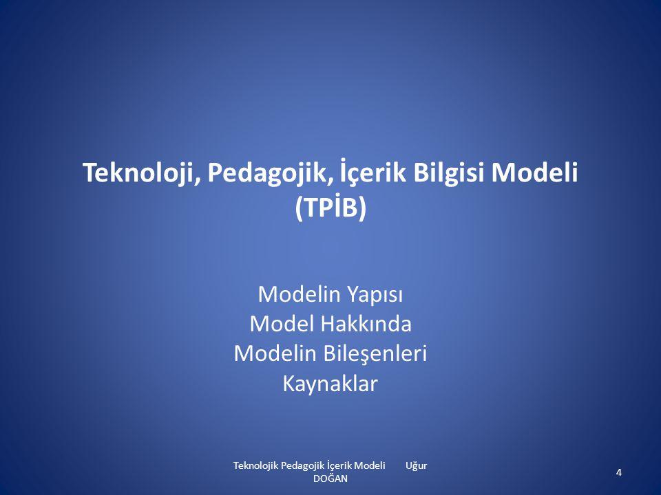 Teknoloji, Pedagojik, İçerik Bilgisi Modeli (TPİB) Modelin Yapısı Model Hakkında Modelin Bileşenleri Kaynaklar Teknolojik Pedagojik İçerik Modeli Uğur