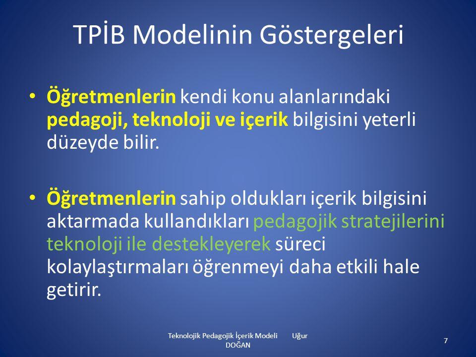 TPİB Modelinin Göstergeleri • Öğretmenlerin kendi konu alanlarındaki pedagoji, teknoloji ve içerik bilgisini yeterli düzeyde bilir. • Öğretmenlerin sa
