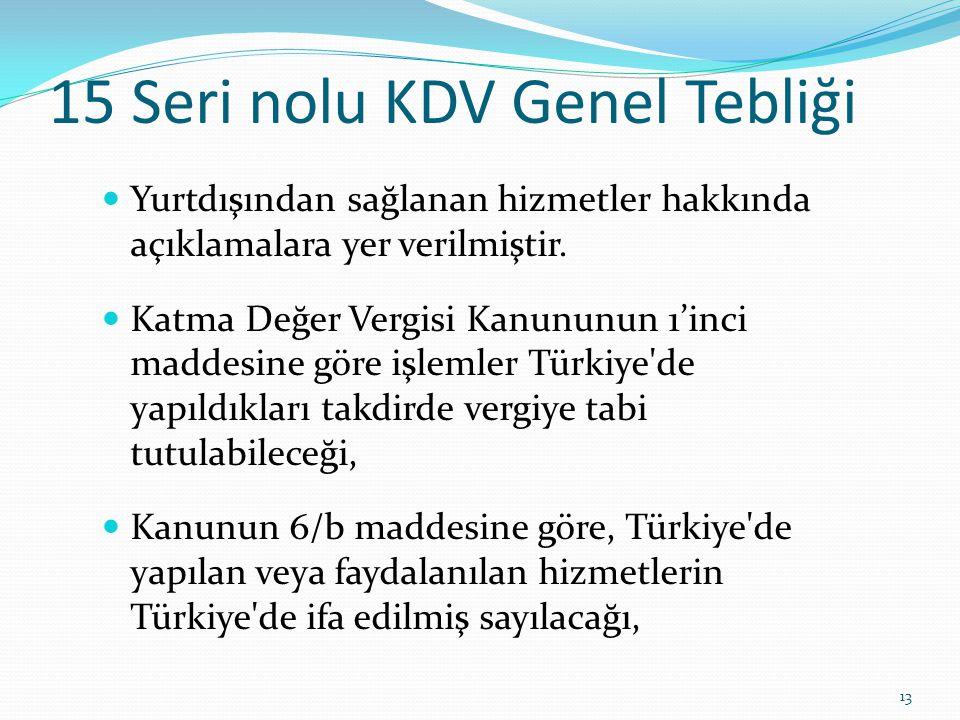 15 Seri nolu KDV Genel Tebliği  Yurtdışından sağlanan hizmetler hakkında açıklamalara yer verilmiştir.