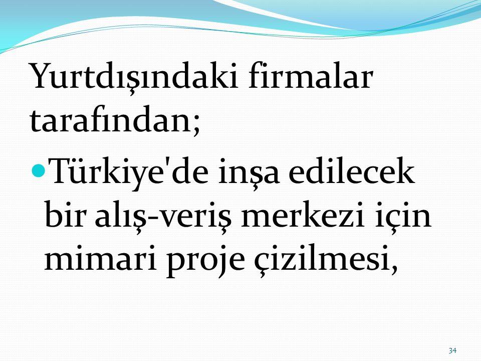 Yurtdışındaki firmalar tarafından;  Türkiye de inşa edilecek bir alış-veriş merkezi için mimari proje çizilmesi, 34