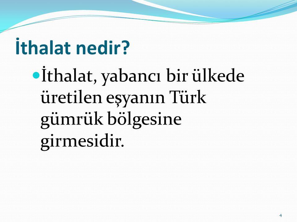 İthalat nedir?  İthalat, yabancı bir ülkede üretilen eşyanın Türk gümrük bölgesine girmesidir. 4
