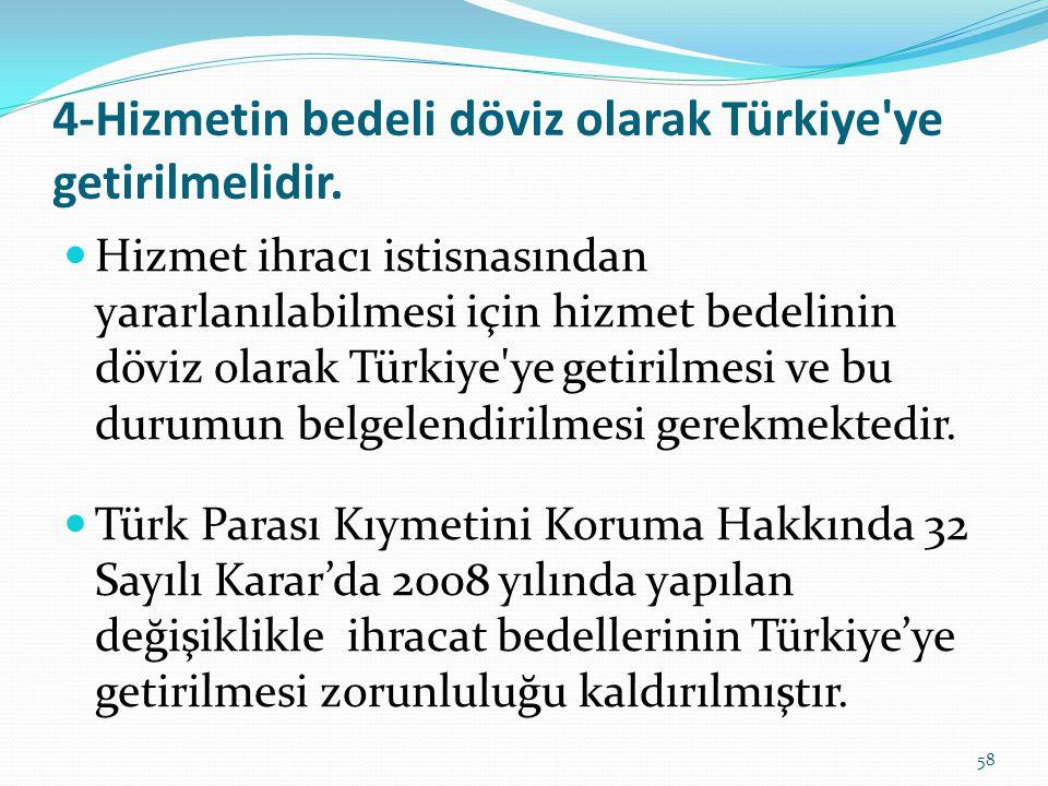 4-Hizmetin bedeli döviz olarak Türkiye ye getirilmelidir.