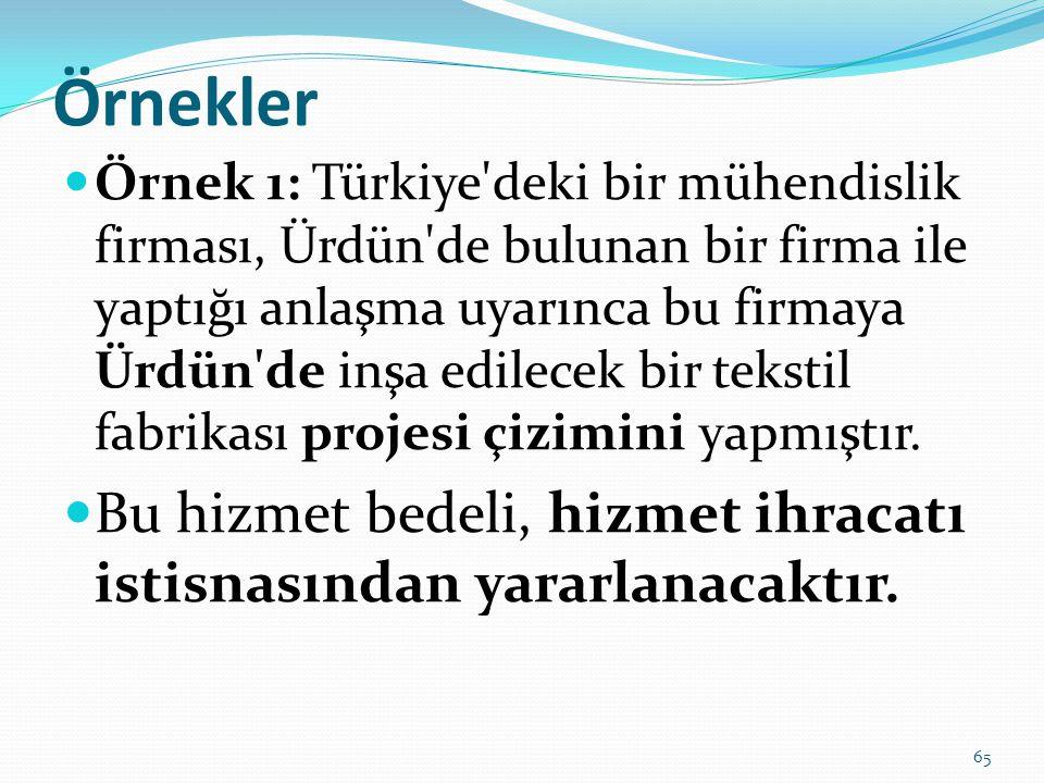 Örnekler  Örnek 1: Türkiye deki bir mühendislik firması, Ürdün de bulunan bir firma ile yaptığı anlaşma uyarınca bu firmaya Ürdün de inşa edilecek bir tekstil fabrikası projesi çizimini yapmıştır.