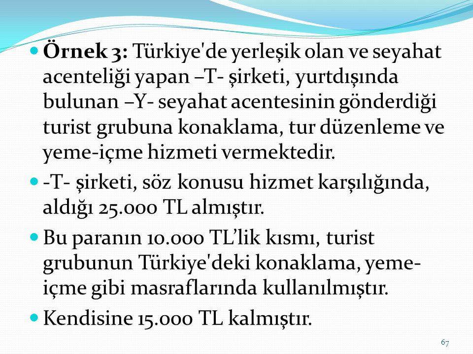  Örnek 3: Türkiye de yerleşik olan ve seyahat acenteliği yapan –T- şirketi, yurtdışında bulunan –Y- seyahat acentesinin gönderdiği turist grubuna konaklama, tur düzenleme ve yeme-içme hizmeti vermektedir.