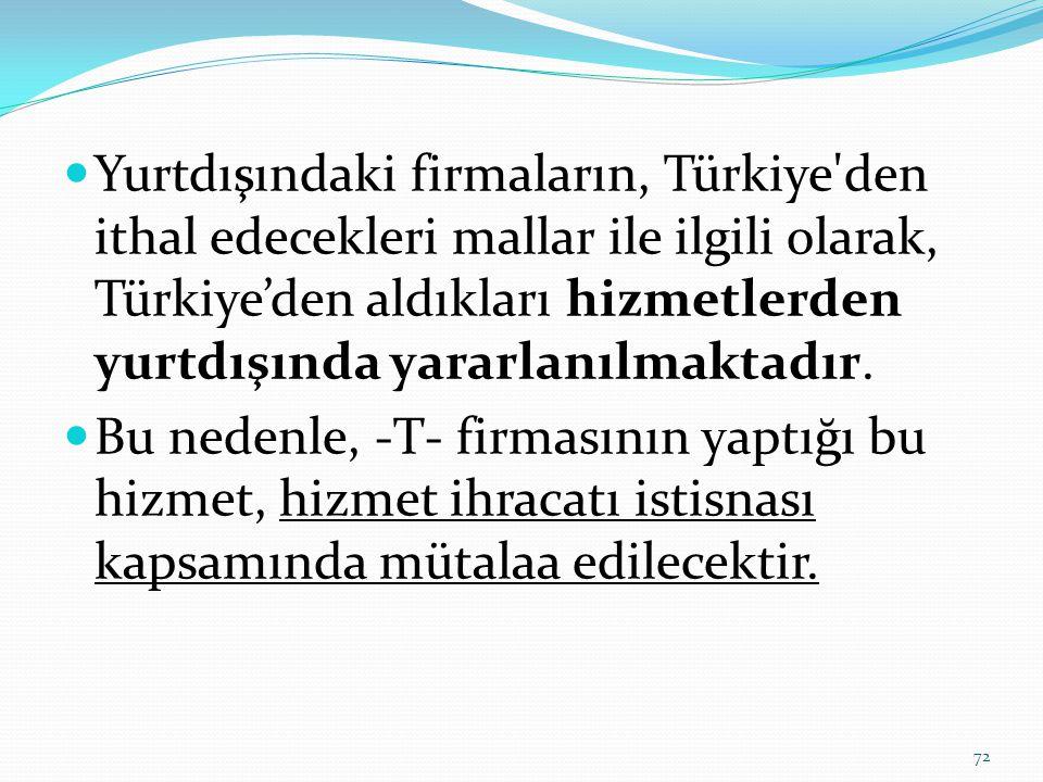  Yurtdışındaki firmaların, Türkiye den ithal edecekleri mallar ile ilgili olarak, Türkiye'den aldıkları hizmetlerden yurtdışında yararlanılmaktadır.
