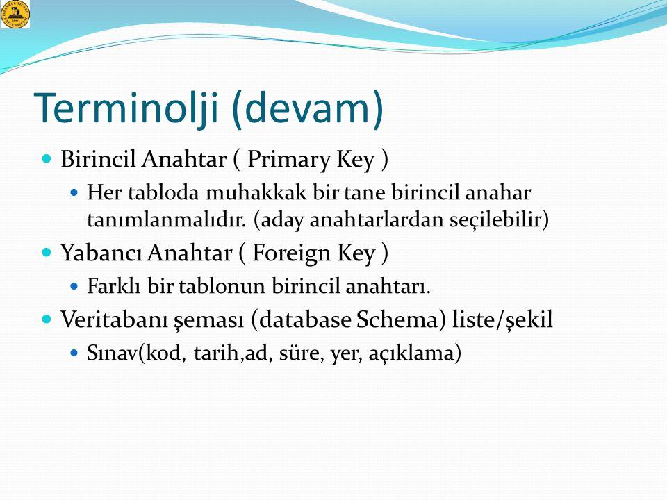 Terminolji (devam)  Birincil Anahtar ( Primary Key )  Her tabloda muhakkak bir tane birincil anahar tanımlanmalıdır. (aday anahtarlardan seçilebilir