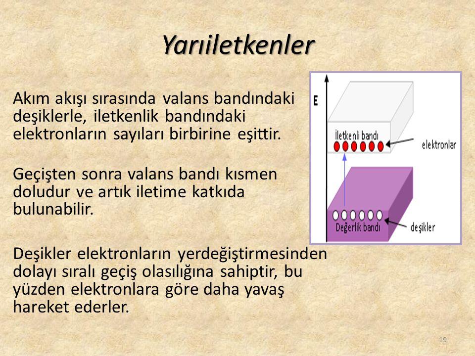 Yarıiletkenler Akım akışı sırasında valans bandındaki deşiklerle, iletkenlik bandındaki elektronların sayıları birbirine eşittir. Geçişten sonra valan