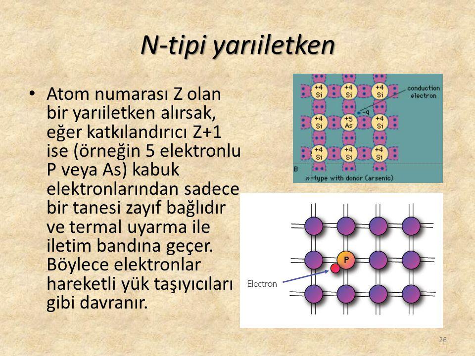 N-tipi yarıiletken • Atom numarası Z olan bir yarıiletken alırsak, eğer katkılandırıcı Z+1 ise (örneğin 5 elektronlu P veya As) kabuk elektronlarından