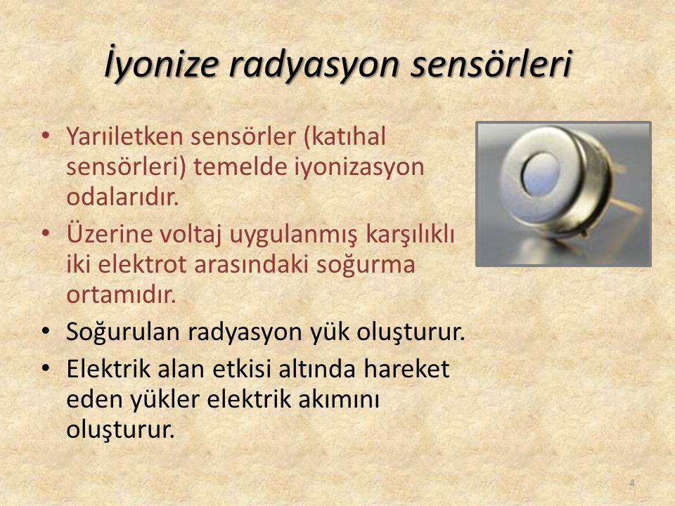 İyonize radyasyon sensörleri • Yarıiletken sensörler (katıhal sensörleri) temelde iyonizasyon odalarıdır. • Üzerine voltaj uygulanmış karşılıklı iki e