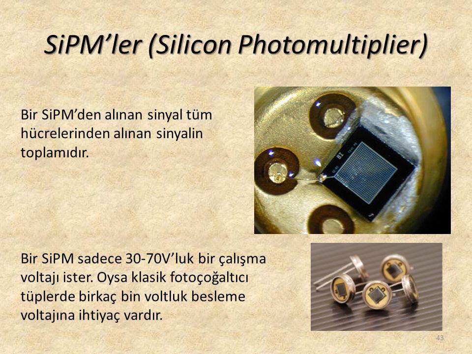 SiPM'ler (Silicon Photomultiplier) 43 Bir SiPM'den alınan sinyal tüm hücrelerinden alınan sinyalin toplamıdır. Bir SiPM sadece 30-70V'luk bir çalışma
