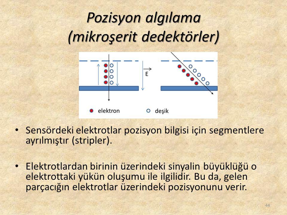 Pozisyon algılama (mikroşerit dedektörler) • Sensördeki elektrotlar pozisyon bilgisi için segmentlere ayrılmıştır (stripler). • Elektrotlardan birinin