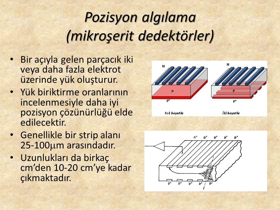 Pozisyon algılama (mikroşerit dedektörler) • Bir açıyla gelen parçacık iki veya daha fazla elektrot üzerinde yük oluşturur. • Yük biriktirme oranların