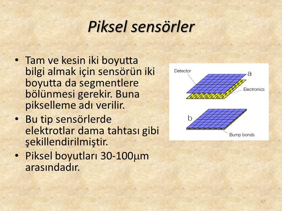 Piksel sensörler • Tam ve kesin iki boyutta bilgi almak için sensörün iki boyutta da segmentlere bölünmesi gerekir. Buna pikselleme adı verilir. • Bu