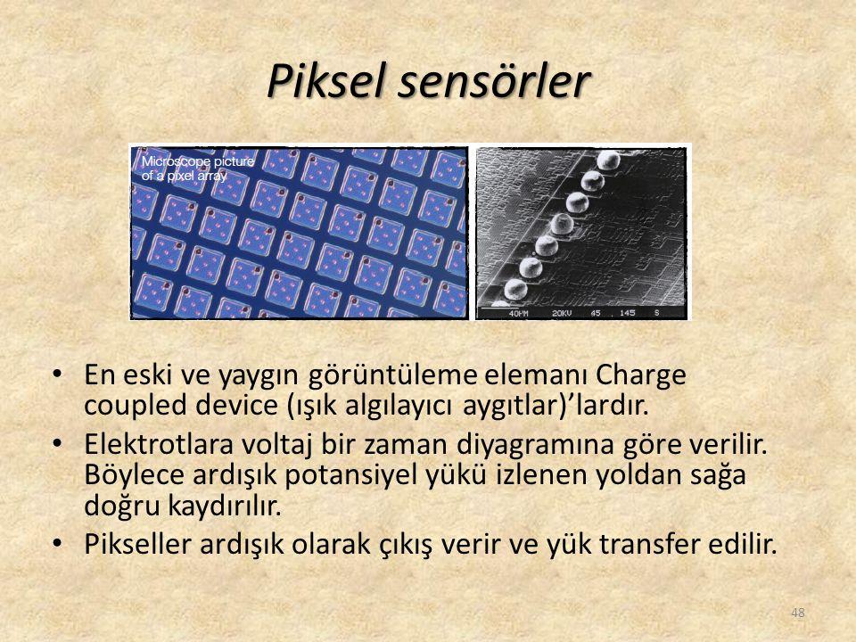 Piksel sensörler • En eski ve yaygın görüntüleme elemanı Charge coupled device (ışık algılayıcı aygıtlar)'lardır. • Elektrotlara voltaj bir zaman diya