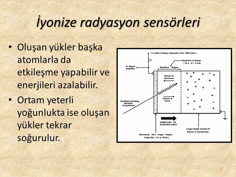İyonize radyasyon sensörleri • Oluşan yükler başka atomlarla da etkileşme yapabilir ve enerjileri azalabilir. • Ortam yeterli yoğunlukta ise oluşan yü