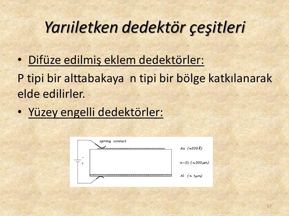 Yarıiletken dedektör çeşitleri • Difüze edilmiş eklem dedektörler: P tipi bir alttabakaya n tipi bir bölge katkılanarak elde edilirler. • Yüzey engell
