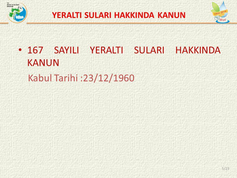 YERALTI SULARI HAKKINDA KANUN • 167 SAYILI YERALTI SULARI HAKKINDA KANUN Kabul Tarihi :23/12/1960 5/23