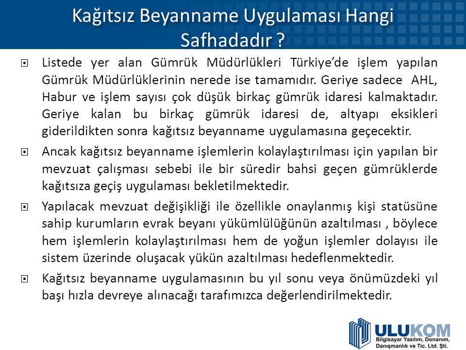 Kağıtsız Beyanname Uygulaması Hangi Safhadadır ?  Listede yer alan Gümrük Müdürlükleri Türkiye'de işlem yapılan Gümrük Müdürlüklerinin nerede ise tam