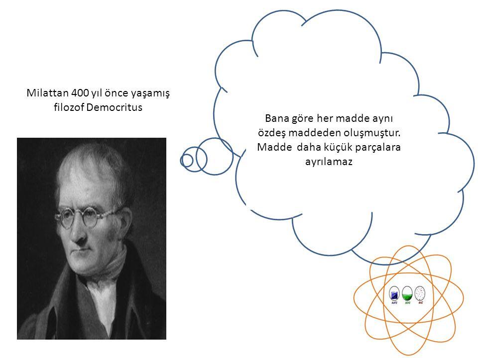 Bana göre her madde aynı özdeş maddeden oluşmuştur. Madde daha küçük parçalara ayrılamaz Milattan 400 yıl önce yaşamış filozof Democritus