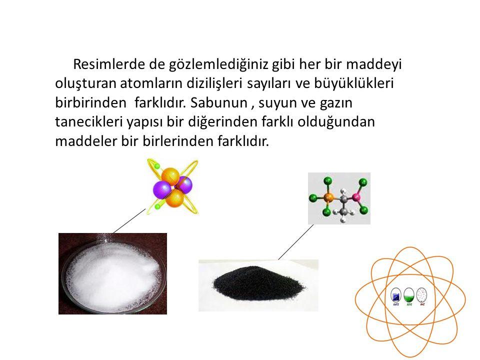 Resimlerde de gözlemlediğiniz gibi her bir maddeyi oluşturan atomların dizilişleri sayıları ve büyüklükleri birbirinden farklıdır. Sabunun, suyun ve g