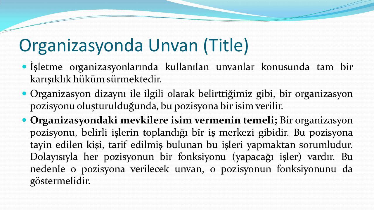 Organizasyonda Unvan (Title)  İşletme organizasyonlarında kullanılan unvanlar konusunda tam bir karışıklık hüküm sürmektedir.  Organizasyon dizayn
