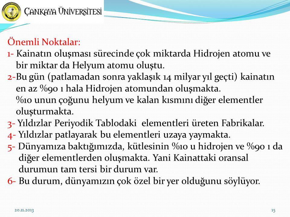 15 Önemli Noktalar: 1- Kainatın oluşması sürecinde çok miktarda Hidrojen atomu ve bir miktar da Helyum atomu oluştu.