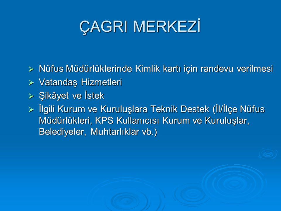 ÇAGRI MERKEZİ  Nüfus Müdürlüklerinde Kimlik kartı için randevu verilmesi  Vatandaş Hizmetleri  Şikâyet ve İstek  İlgili Kurum ve Kuruluşlara Tekni