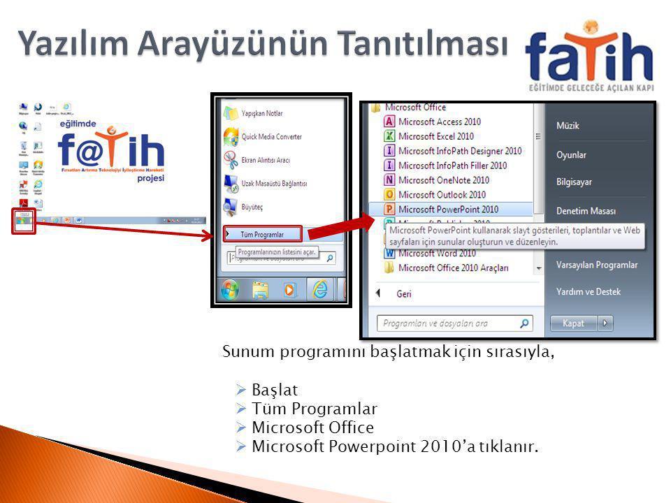 Sunum programını başlatmak için sırasıyla,  Başlat  Tüm Programlar  Microsoft Office  Microsoft Powerpoint 2010'a tıklanır.