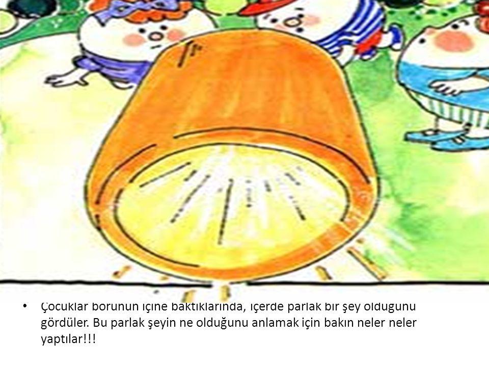 • Çocuklar borunun içine baktıklarında, içerde parlak bir şey olduğunu gördüler. Bu parlak şeyin ne olduğunu anlamak için bakın neler neler yaptılar!!