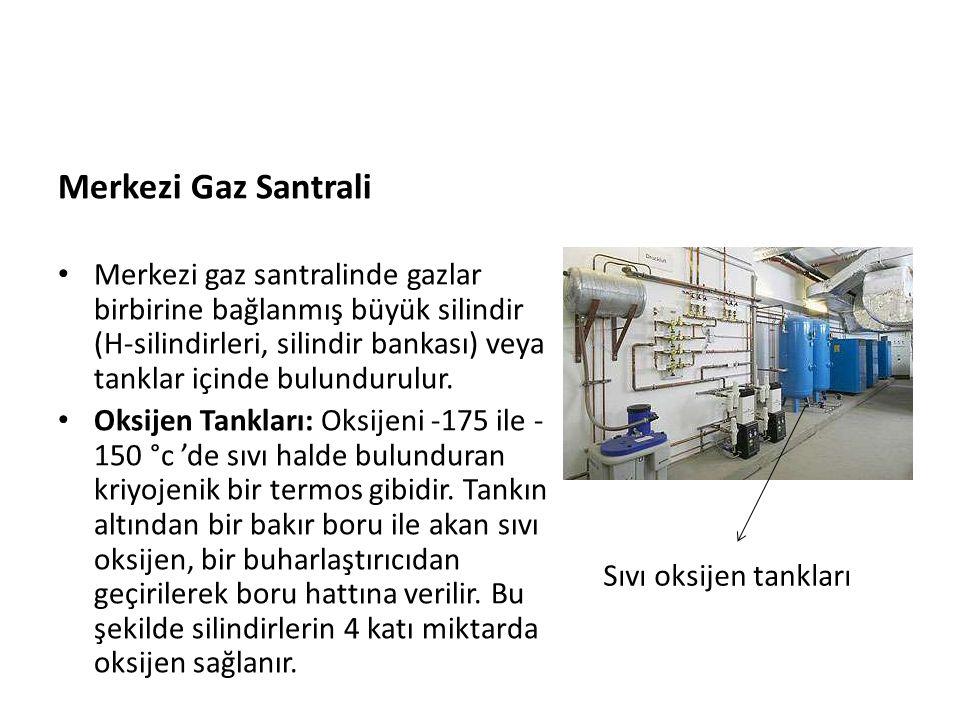 Merkezi Gaz Santrali • Merkezi gaz santralinde gazlar birbirine bağlanmış büyük silindir (H-silindirleri, silindir bankası) veya tanklar içinde bulund